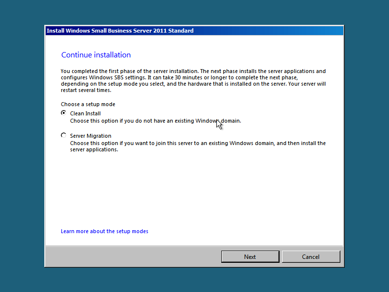 Installing SBS 2011 from DVD or USB pen drive