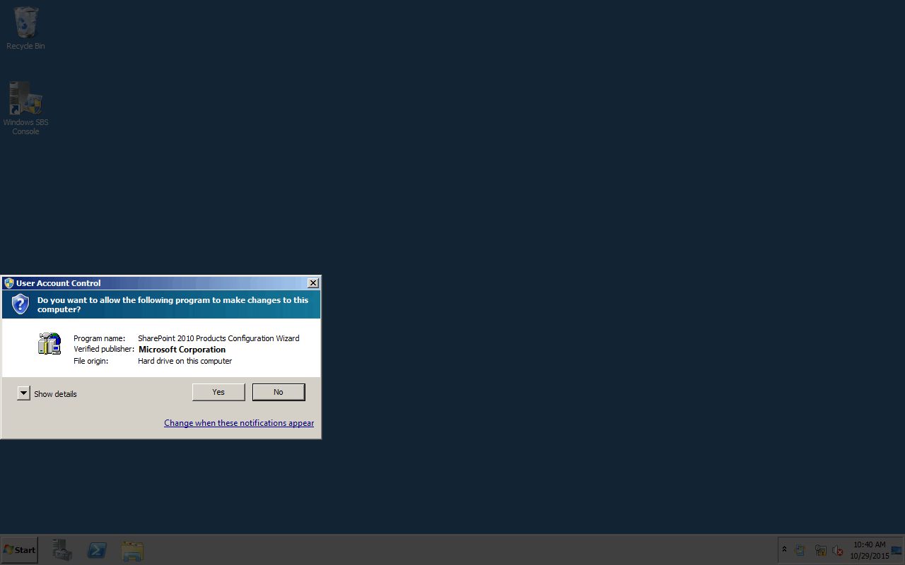 Install SharePoint Foundation 2010 SP2 on SBS 2011