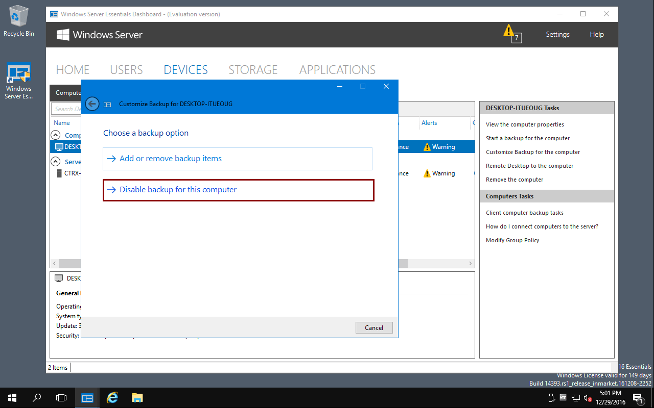 How to disable Client Computer Backup in Windows Server Essentials