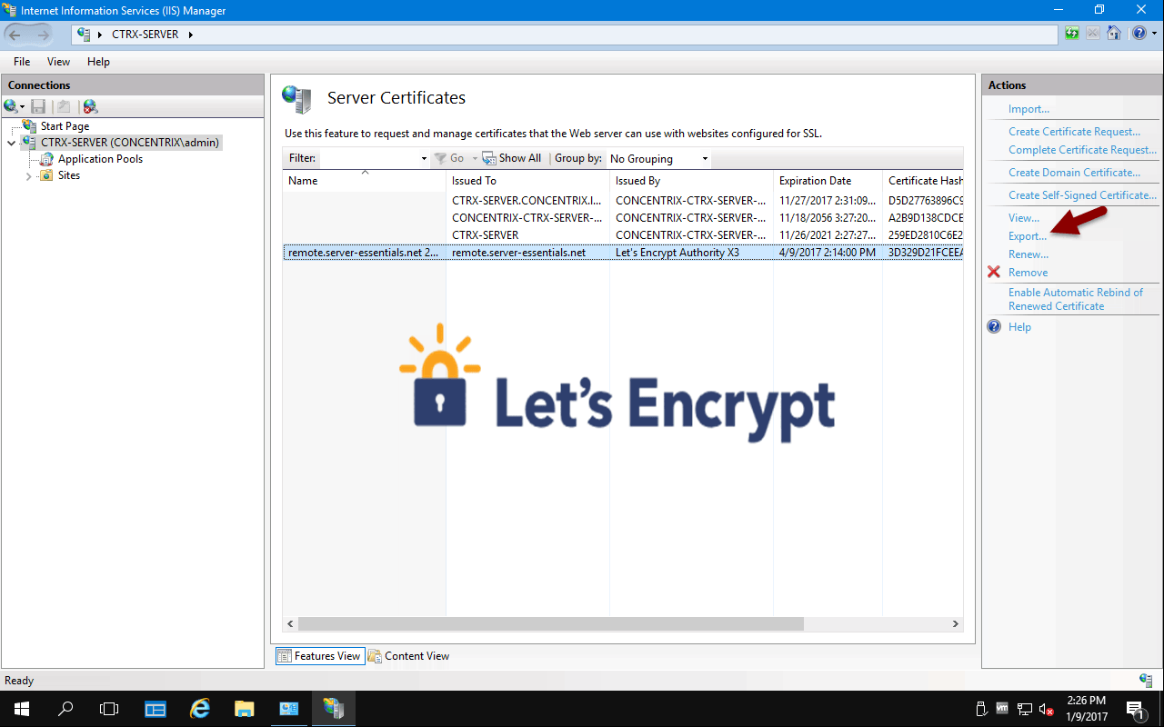 Get a free Let's Encrypt SSL certificate for Access Anywhere and automatically renew it.