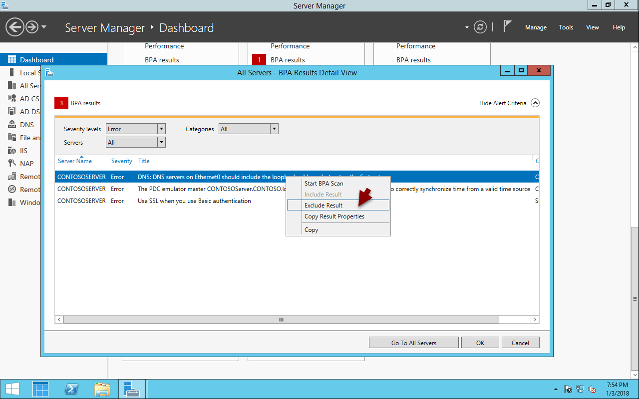 Direct access must be configured to accept clients connections error in Essentials Dashboard health reports